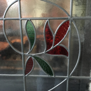 Antique Glass Window in Hand forged frame