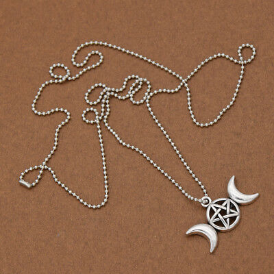 DIY Antique Triple Moon Goddess Pendant Charm Necklace Jewelry Accessories Gift