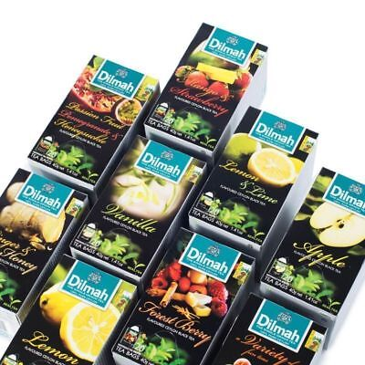 Dilmah- flavoured Black Tea bags CEYLON (Vanilla,Mint,Strawberry,Cinnamon,Ginger