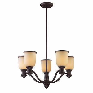 5 Light Chandelier In Oiled Bronze And Amber Glass