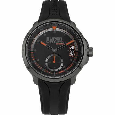 Superdry Men's SYG217BB Kyoto Day Date Analog Quartz Silicone Watch Black NEW