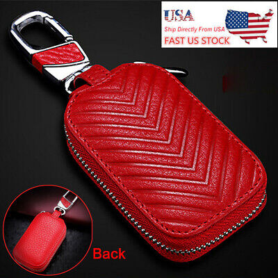 Leather Car Remote Key Fob Chain Zipper Wallet Holder Bag Case Cover Universal ()