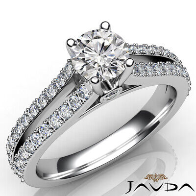 Double Prong Split Shank Bezel Round Diamond Engagement Ring GIA F VS1 1.37 Ct