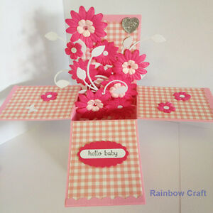 Handmade card - card in a box / welcome baby girl / for shower