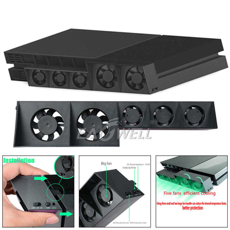 Temperature Control Cooling Cooler 5Fan for Playstation 4 PS4 Game Accessories