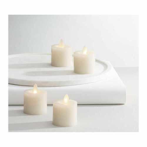 Pottery Barn Premium Flicker Flameless Wax Votive Candle, Ivory - Set of 4