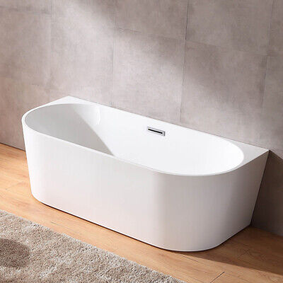 "Modern 67"" Acrylic Free Standing Tub Oval White Soaking Bathtub 84.54 Gallons"