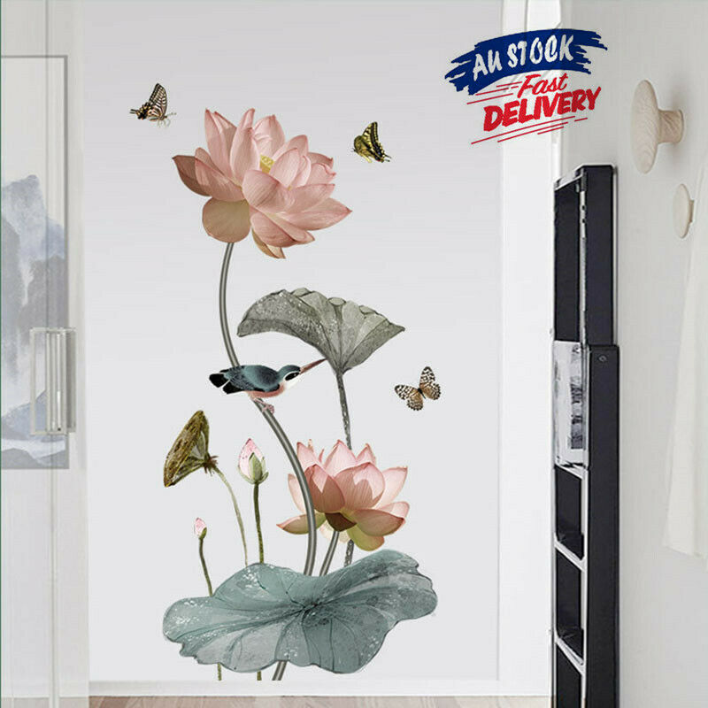 Home Decoration - Lotus Flower Room Wall Stickers Vinyl Decal Self-adhesive Home Decor Art Mural