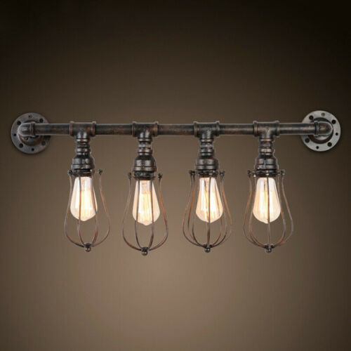 Industrial Rustic Pipe 4-light Wall Sconce Steampunk Vanity