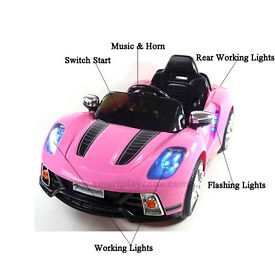 Porsche style 12v Ride on car with Remote - Pink and White