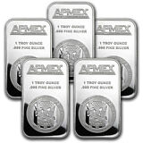 1 oz APMEX .999 Fine Silver Bar (Lot of 5)
