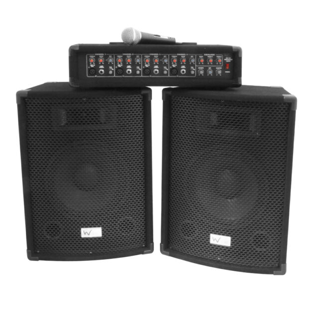 W Audio Gig Rig Performer 200W PA System inc cables & microphone Band DJ Disco