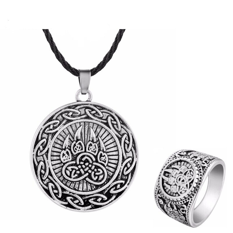 Norse Slavic Necklaces Men Ring Bear Wolf Paw Tibetan Viking