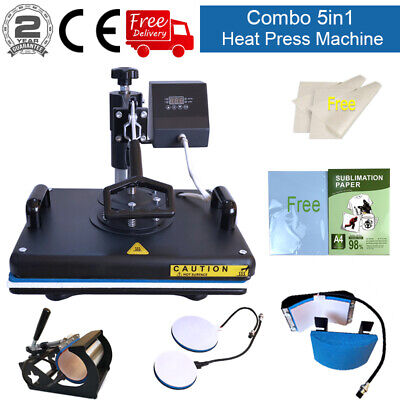 5in1 12x15 Heat Press Machine Trasnfer Sublimation Paper Swing Away T-shirts