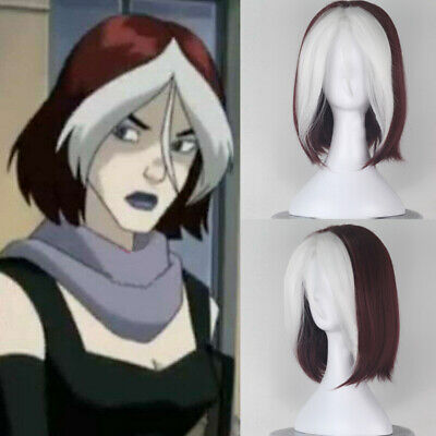 X-men Rogue Short wigs Wavy Wine Red and White Women Movie Cosplay Hair Wig - X Men Rogue Wig