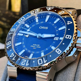 NEW WITH TAGS Oris Aquis GMT Date Blue 01 798 7754 4135-07 4 24 65EB