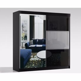 💗💗CLASSIC OFFER💗💗 RUMBA High GlAss Sliding Door Wardrobe in Black / White -BRAND NEW!