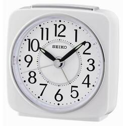 Seiko QHE140W Quiet Sweep Second Hand Beep Alarm Clock with Snooze White