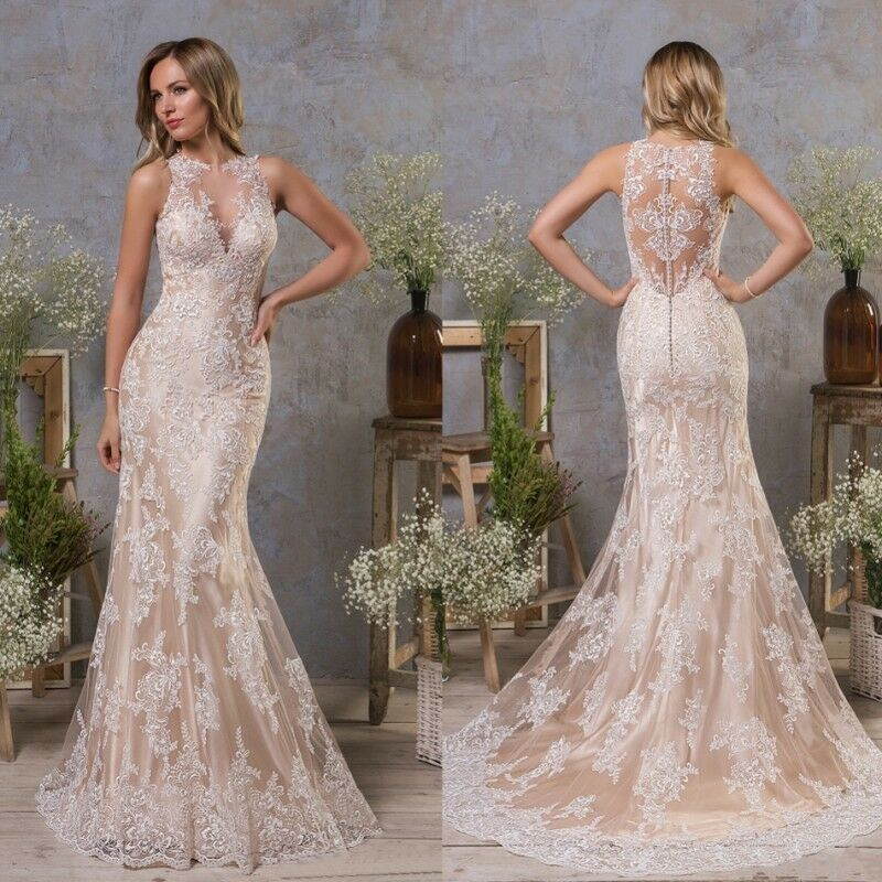 Details About Champagne Mermaid Wedding Dresses Bridal Gowns Halter Neck Plus Size 0 4 8 12 16
