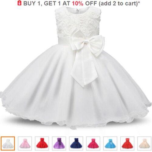 UK Kids Girl Bridesmaid Dress Baby Flower Party Rose Bow Wedding Dress Princess