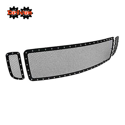 Mesh Rivet Grille Insert Stainless Black 99-04 Ford F250 Super Duty Excursion 3p