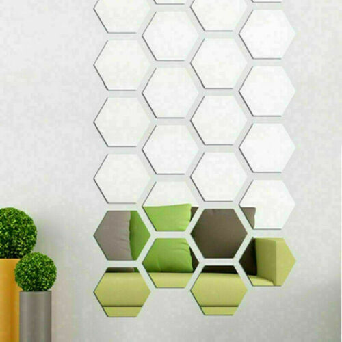 Home Decoration - 12/48PCS 3D Mirror Tiles Mosaic Wall Stickers Self Adhesive Bedroom Home Decor