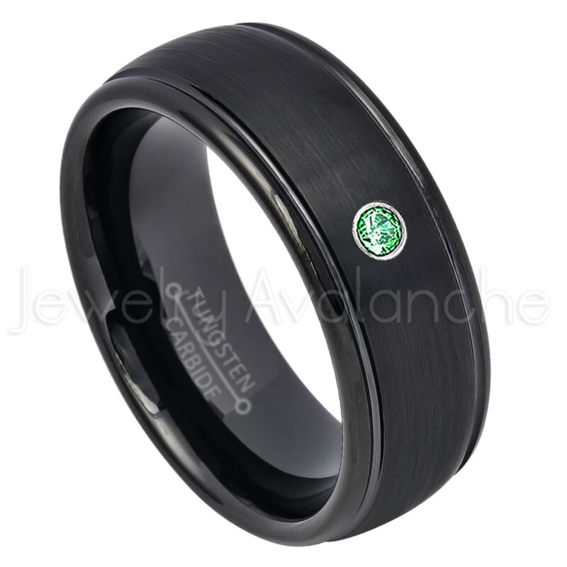 Dome Black Tungsten Ring, 0.07ct Mens Emerald Ring May Birthstone Ring #664