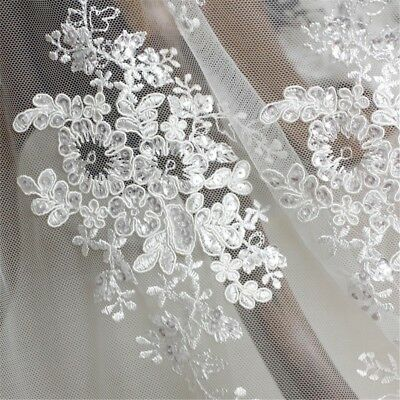 White Tulle Fabric (Lace Tulle Embroidery Floral Fabric Wedding Bridal Dresses By Metre Comfy)
