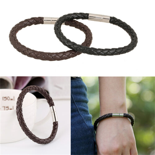 Women Men Black Leather Charm Wristband Stainless Steel Magnetic Clasp Bracelet)