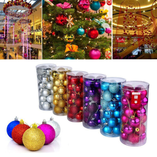 3-8cm Christmas Glitter Tree Ball Bauble Hanging Party