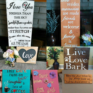 Wall art (canvas paintings and wood signs)