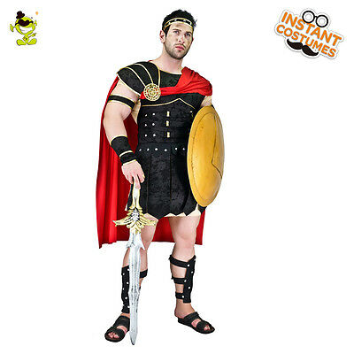 Roman Gladiator Costume (Adult Man Brave Roman Gladiator Costume Carnival Party Cool Warrior Fancy)