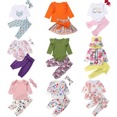 US Cute Newborn Kid Baby Girls Flowers Top Romper Skirt Pants Outfit Clothes Lot - Cute Kid Outfits