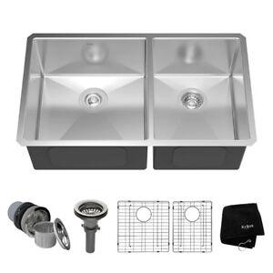 """Kraus KHU103-33 33"""" Undermount 60/40 Double Bowl Kitchen Sink"""
