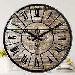 38 cm Large Wooden Wall Clocks Room Home Silent Decor Retro Antique MDF Print