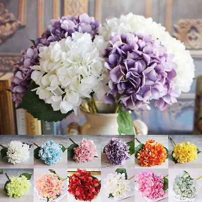 Hydrangea Silk Artificial Flower Fake Blossom Bunch Bouquet Wedding Bridal Decor (Hydrangea Wedding Flower Bouquet)