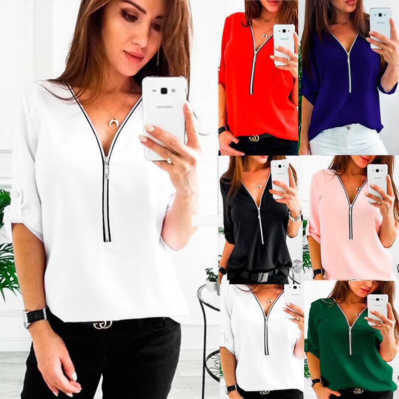 Damen Bluse V-Ausschnitt Zip Tops Oberteile Freizeit Kurzarm Tunika T Shirt Hemd
