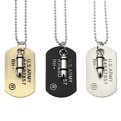 Fashion Men Military Army Bullet Charm Dog Tags Chain Pendant Necklace Jewelry](Military Dog Tags For Men)