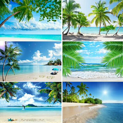 Summer Sea Beach Backdrop For Photography Blue Sea and Sky Palm Trees Background (Sky Backdrop)