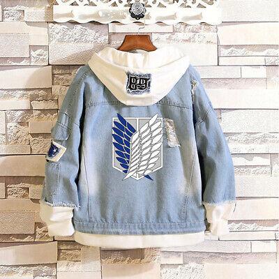 n Hoodie Jean Jacket Coat Casual Hooded Sweatshirt Outerwear (Attack On Titan Hoodie)