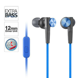 SONY Extra Bass earbuds w/mic & VOICE COMMAND (BLUE) NEW!!!!