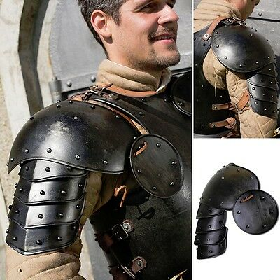 LARP Dark Warrior Steel Pauldrons Shoulder Armour Perfect for Costume Or Theatre