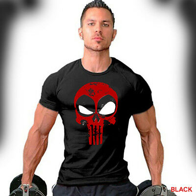 Deadpool T Shirts (Deadpool T-Shirt Distressed Punisher Skull Crossover Logo Workout Gym Apparel)