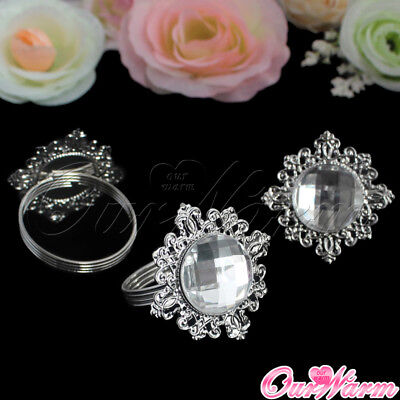 Dinner Party Decorations (100× Diamond Gem Napkin Ring Serviette Holder Wedding Party Dinner Table)
