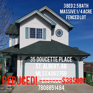 REDUCED! St. Albert 35 Doucette Place. Huge yard.
