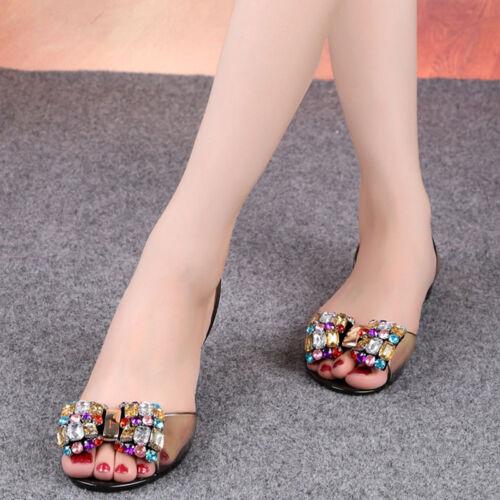 5dd292cc54cd Women Boho Sexy Jelly Sandals Bling Bowtie Fashion Peep Toe Shoes Flat  Sandals
