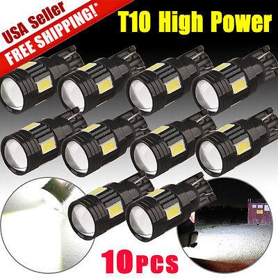 10x White T10 5630 LED Projector Lens Backup Reverse Tail Parking Light Bulbs