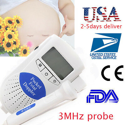 Contec Lcd Pocket Fetal Doppler 3mhz Baby Heart Beat Sound Monitor Home Clinic