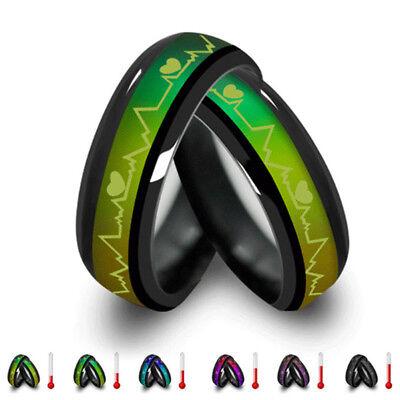 Usa  Titanium Heart Mood Ring   Pendant Temperature Color Changes Lovers Emotion