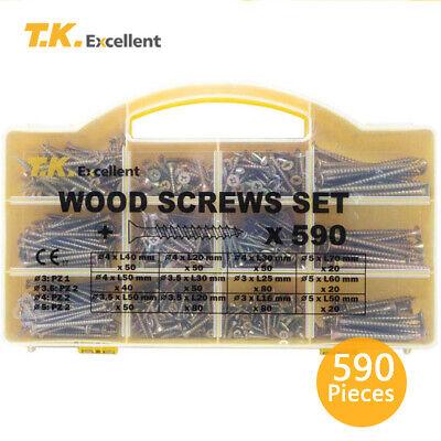 Wood Screws Phillips Flat Head Drywall Chipboard Screw Assortment Kit590 Pcs